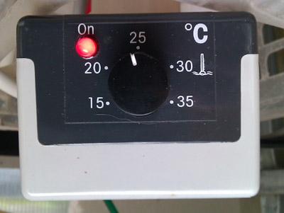 Steuergerät des Schego-Heizers, momentane Stellung bei 23 Grad